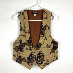 VTG Roughrider By Circle T Tapestry Cowboy Vest